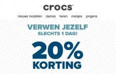 20% korting vandaag bij Crocs
