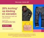 20% korting op kleding en sieraden bij eBay