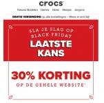 -30% Black Friday korting op hele website en gratis verzending bij Crocs