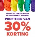 30% Extra korting bij Crocs