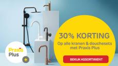 30% Korting op alle kranen & douchesets met Praxis Plus bij Praxis