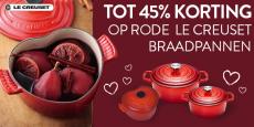 48% Korting Rode Le Creuset Braadpannen bij Cook&Co