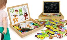 47% korting Multifunctionele houten magnetische tafel met dierenpuzzel voor €13,99 bij Groupon