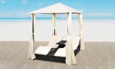 48% korting Duo loungebed Rotan met zonnescherm en gordijnen voor €289 bij Groupon