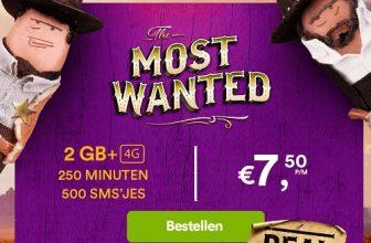 50% Korting 2 GB, 500 Smsjes en 250 belminuten voor €7,50 bij Simpel