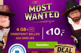 50% Korting 4 GB, 500 Smsjes en Onbeperkt bellen voor €10 bij Simpel