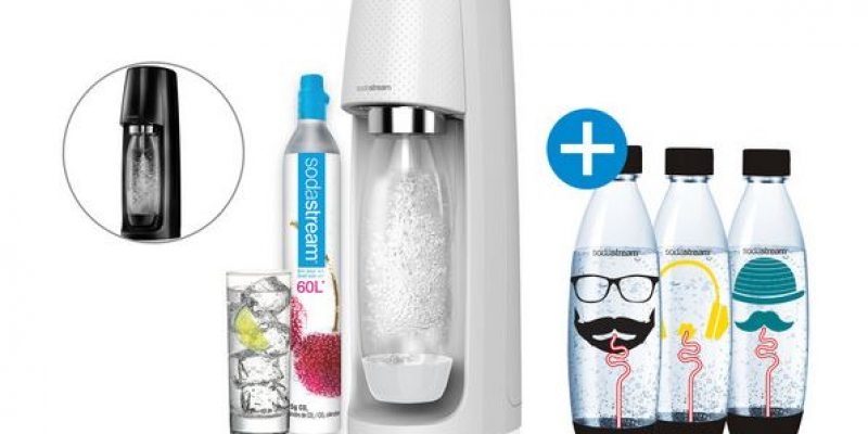 50% korting SodaStream Spirit wit of zwart + 3 extra flessen bij iBOOD