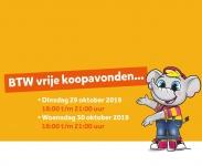 BTW vrije koopavonden 29 en 30 oktober bij Intertoys