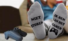 Sokken met de tekst: niet storen, ik ben aan het gamen voor €3,99 bij Groupon