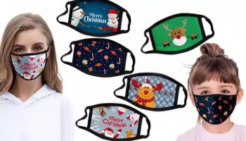 Wasbare en Herbruikbare Mondkapjes Kerst-thema voor volwassenen en kinderen voor vanaf €1,25 bij Groupon