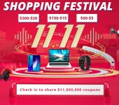 Gratis $2, $5, $15 en $30 coupons met de 11.11 Shopping Festival bij Geekbuying