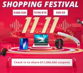 Gratis $2, $5, $15 en $30 coupons met de 11.11 Shopping Festival bij Geekbuying