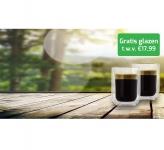Gratis 2 Luxe Dubbelwandige Espresso Glazen t.w.v. €17,99 bij Koffievoordeel