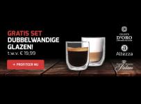 Gratis 2 Luxe Dubbelwandige Grote Glazen t.w.v. €19,99 bij  Koffievoordeel