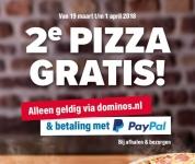 Gratis 2e Pizza met kortingscode door online uitchecken met Paypal Bij Domino's