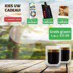 Gratis Cadeau en 2 Luxe Glazen met kortingscode bij besteding €25/€30 bij Koffievoordeel