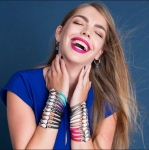 88% Korting Lucardi Stalen Kristal Armband met Beige Rose Leer band voor €4,99 bij V&D