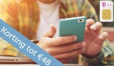 Tot €48 Korting met Voucher € 4 p/mnd korting T-Mobile Sim Only voor €2,95 bij iBOOD